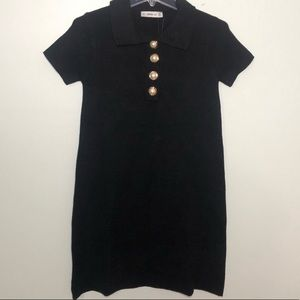 NWT Zara Black Knit Dress with Pearl Buttons S